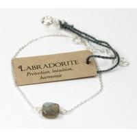 Bracelet coussin de Labradorite 7 mm - Argent 925
