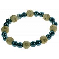 Bracelet Hématite Perles rondes 8 mm et Perles bois 1 cm
