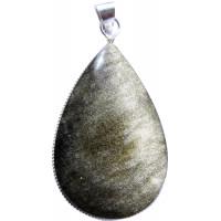 Pendentif Obsidienne Dorée Forme ovale
