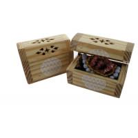 Boîte à bijoux en bois avec velours à l'intérieur - Ornement Fleur de Vie