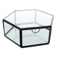 Boîte en verre et métal Hexagonale 1 compartiment Noire GM