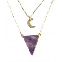 Collier Améthyste Triangle et Lune Chaîne dorée