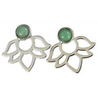 Boucles d'oreilles Aventurine Verte Perle et Lotus Métal argenté