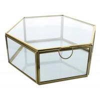 Boîte en verre et métal Hexagonale 1 compartiment Dorée GM