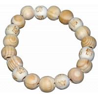 Lucky Karma Bois - Bracelet bois naturel rainuré