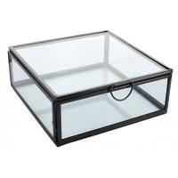 Boîte en verre et métal Carrée 1 compartiment Noire
