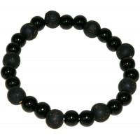 Bracelet Onyx Perles rondes 8 mm et Perles bois teinté noir 1 cm