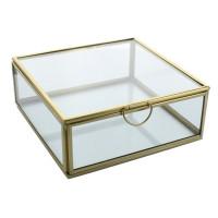 Boîte en verre et métal Carrée 1 compartiment Dorée