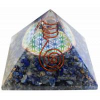 Pyramide Orgonite Lapis Lazuli avec symbole Fleur de Vie