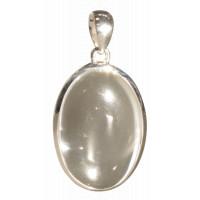 Pendentif Cristal de Roche Forme ovale Pierre sertie
