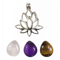 Coffret Collier Fleur de Lotus - 3 Pierres Interchangeables