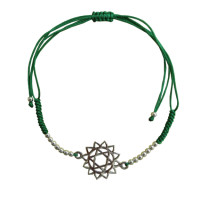 Bracelet cordon ajustable en coton - Chakra Anahata