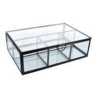 Boîte en verre et métal Rectangulaire 4 compartiments Noire