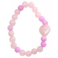 Bracelet Quartz Rose et Jade teinté rose Perles rondes 8 mm et Perle coeur 1,5 cm