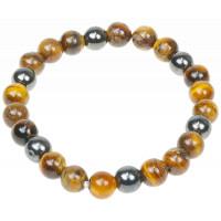 Bracelet Oeil de Tigre et Hématite Perles rondes 8 mm