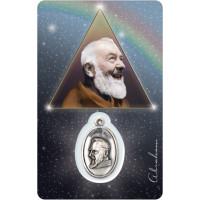Médaille sur carte Padre Pio