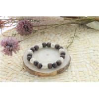 Bracelet Lucky Karma Bois clair et marron Perles rondes 10 mm
