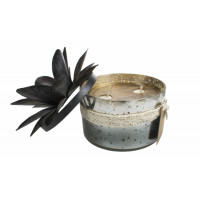 Bougie verre 2 mèches coloris noir - Senteur Nag Champa