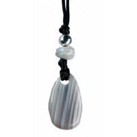 Collier Agate Rubanée Perle métallique Cordon noir