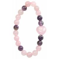 Bracelet Quartz Rose et Améthyste Perles rondes 8 mm et Perle coeur 1,5 cm