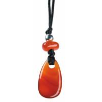 Collier Cornaline chauffée Perle métallique Cordon noir