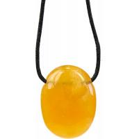 Collier Calcite Orange Pierre ovale percée Cordon noir