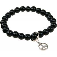 Bracelet Onyx Perles rondes 8 mm et Breloque symbole paix