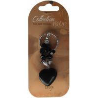 Porte-clef cœur et pierres baroques - Onyx