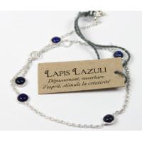 Bracelet pierres Lapis lazuli 4 mm - Argent 925