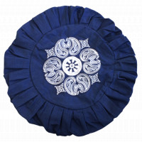 Housse de Zafu Bleu Broderie Mandala Blanche