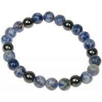 Bracelet Sodalite et Hématite Perles rondes 8 mm