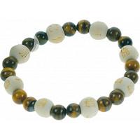 Bracelet Oeil de tigre Perles rondes 8 mm et Perles bois 1 cm