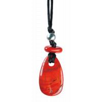 Collier Jaspe Rouge Perle métallique Cordon noir