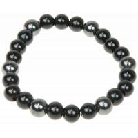 Bracelet Onyx et Hématite Perles rondes 8 mm