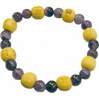 Bracelet Améthyste Perles rondes 8 mm et Perles bois 1 cm