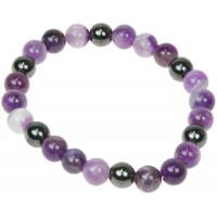 Bracelet Améthyste et Hématite Perles rondes 8 mm