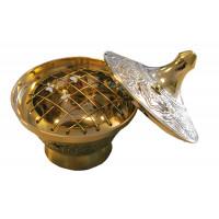 Brûle-encens laiton avec couvercle - coloris doré