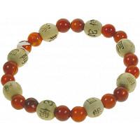 Bracelet Cornaline Perles rondes 8 mm et Perles bois 1 cm