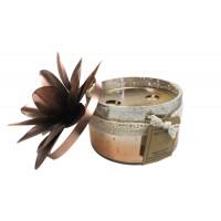 Bougie verre 2 mèches coloris cuivre - Senteur Relaxation