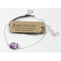 Bracelet coussin d'Améthyste 7 mm - Argent 925