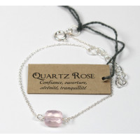 Bracelet coussin de Quartz Rose 7 mm - Argent 925