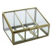 Boîte en verre et métal Trapèze 3 compartiments Dorée