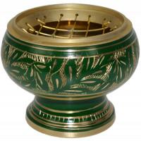 Brûle-encens incrustations or/vert