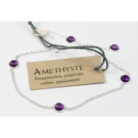 Bracelet pierres Amethyste 4 mm - Argent 925